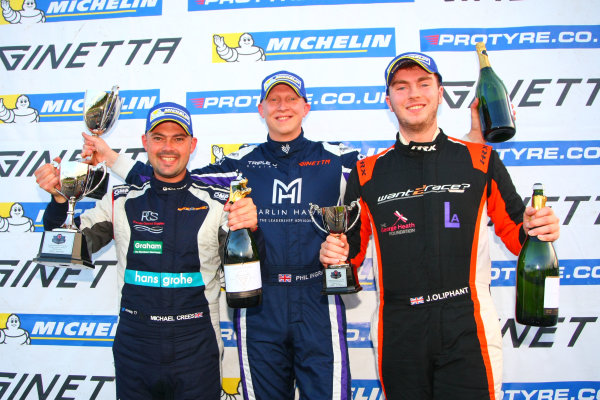 2017 Ginetta Racing Drivers Club+ Championship, Donington Park, Leicestershire. 23rd - 24th September 2017. Podium (l-r) Michael Crees, Phil Ingram, Jack Oliphant. World Copyright: JEP/LAT Images