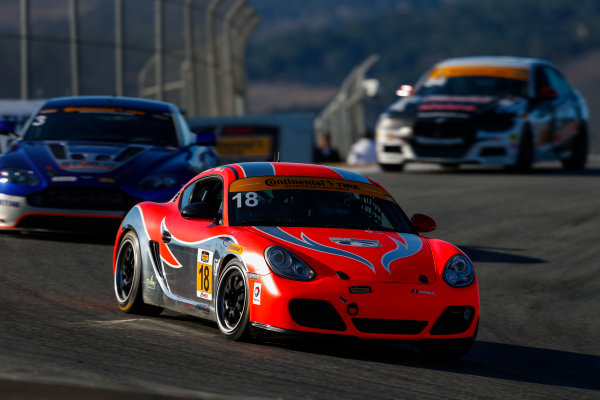 IMSA Continental Tire SportsCar Challenge Mazda Raceway Laguna Seca 240 Mazda Raceway Laguna Seca Monterey, CA USA Friday 22 September 2017 18, Porsche, Porsche Cayman, ST, Aurora Straus, Connor Bloum World Copyright: Jake Galstad LAT Images