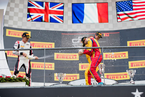 2017 GP3 Series Round 5.  Spa-Francorchamps, Spa, Belgium. Sunday 27 August 2017. George Russell (GBR, ART Grand Prix), Giuliano Alesi (FRA, Trident), Ryan Tveter (USA, Trident).  Photo: Zak Mauger/GP3 Series Media Service. ref: Digital Image _56I3113