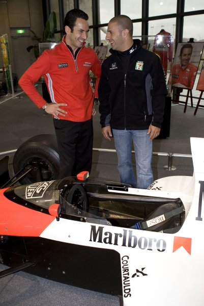 17-19 April, 2008, Twin Ring Motegi, JapanHelio Castroneves and Tony Kanaan stand near the McLaren MP4/5 of Ayrton Senna at the Brazilian Drivers display at the Honda Collection Hall©2008, Dan Streck, USALAT Photographic