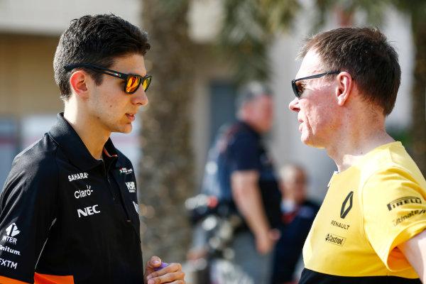 Bahrain International Circuit, Sakhir, Bahrain.  Thursday 13 April 2017. Esteban Ocon, Force India, talks with Alan Permane, Trackside Operations Director, Renault Sport F1, in the paddock. World Copyright: Andy Hone/LAT Images ref: Digital Image _ONZ7132