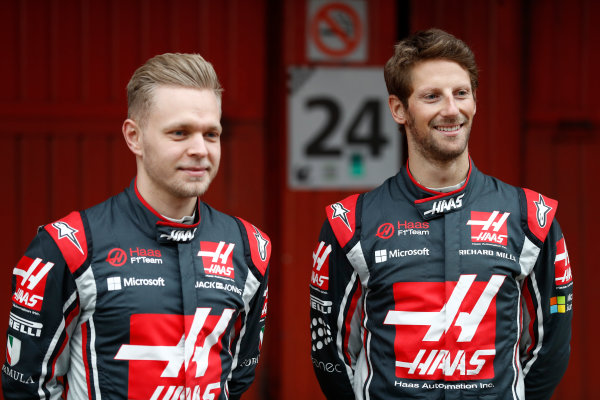 HAAS F1 Car Formula 1 Launch. Barcelona, Spain  Monday 27 February 2017. Kevin Magnussen, Haas. and Romain Grosjean, Haas F1.  World Copyright: Dunbar/LAT Images Ref: _31I9946