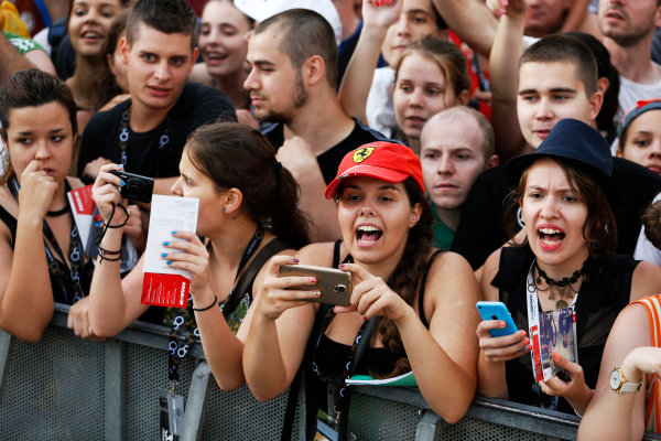 Hungaroring, Budapest, Hungary. Thursday 23 July 2015. Fans wait for autographs from the drivers. World Copyright: Charles Coates/LAT Photographic ref: Digital Image _J5R0743