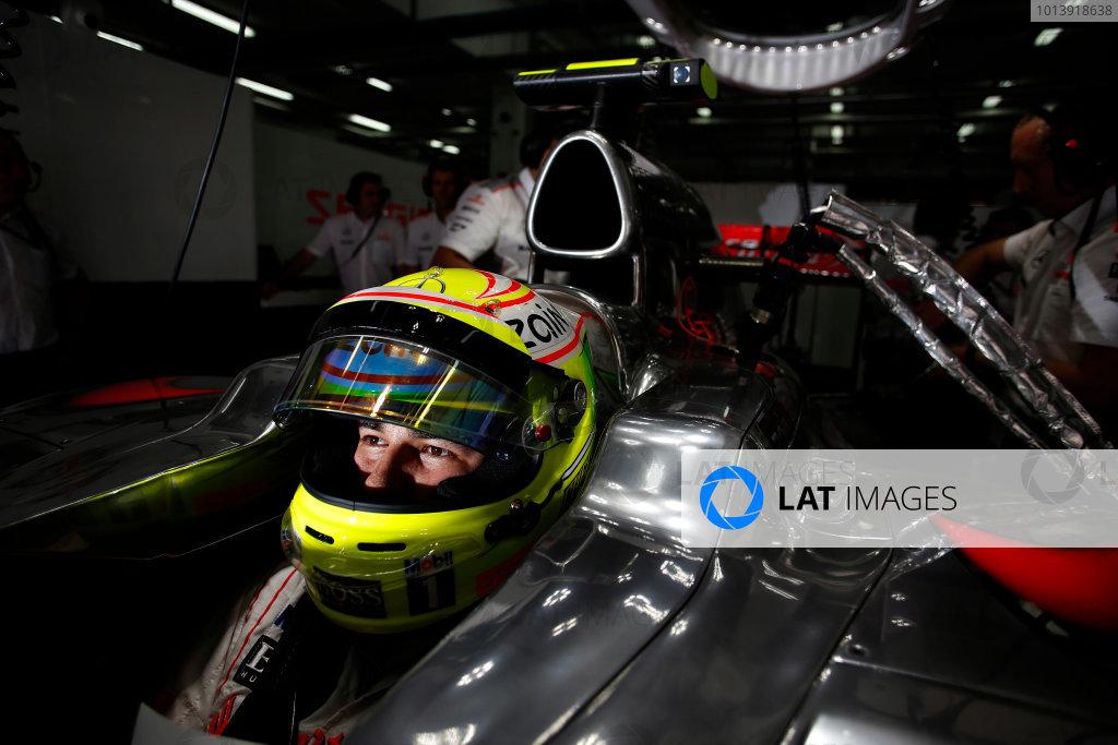 Bahrain International Circuit, Sakhir, Bahrain Friday 19th April 2013 Sergio Perez, McLaren.  World Copyright: Steven Tee/LAT Photographic ref: Digital Image _14P7903