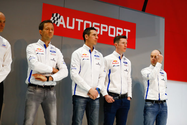 Autosport International Exhibition. National Exhibition Centre, Birmingham, UK. Thursday 11th January 2017. Malcolm Wilson talks to Henry Hope-Frost on the Autosport Stage. M-Sport Ford WRC drivers Sebastien Ogier and Elfyn Evans looks on.World Copyright: Ashleigh Hartwell/LAT Images ref: Digital Image _R3I8002
