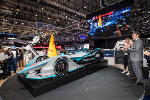 2017/2018 FIA Formula E Championship. Geneva Motor Show Tuesday 6 March 2018. The FIA Formula-E Gen2 car is unveiled. Photo: Sam Bloxham/LAT/Formula E ref: Digital Image _W6I3772