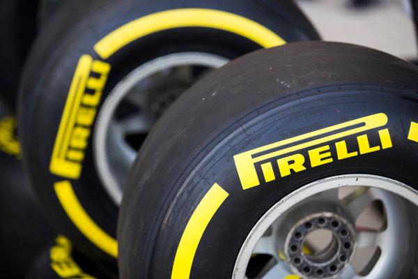 2017 FIA Formula 2 Round 11. Yas Marina Circuit, Abu Dhabi, United Arab Emirates. Thursday 23 November 2017. Pirelli tyres Photo: Sam Bloxham/FIA Formula 2. ref: Digital Image _J6I0920