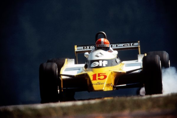 Race winner Jean-Pierre Jabouille (FRA) Renault RE23. Austrian Grand Prix, Rd10, Osterreichring, Austria, 17 August 1980. BEST IMAGE