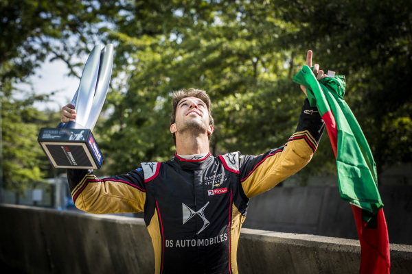 Antonio Felix da Costa (PRT), DS Techeetah, 2nd position, poses with his trophy