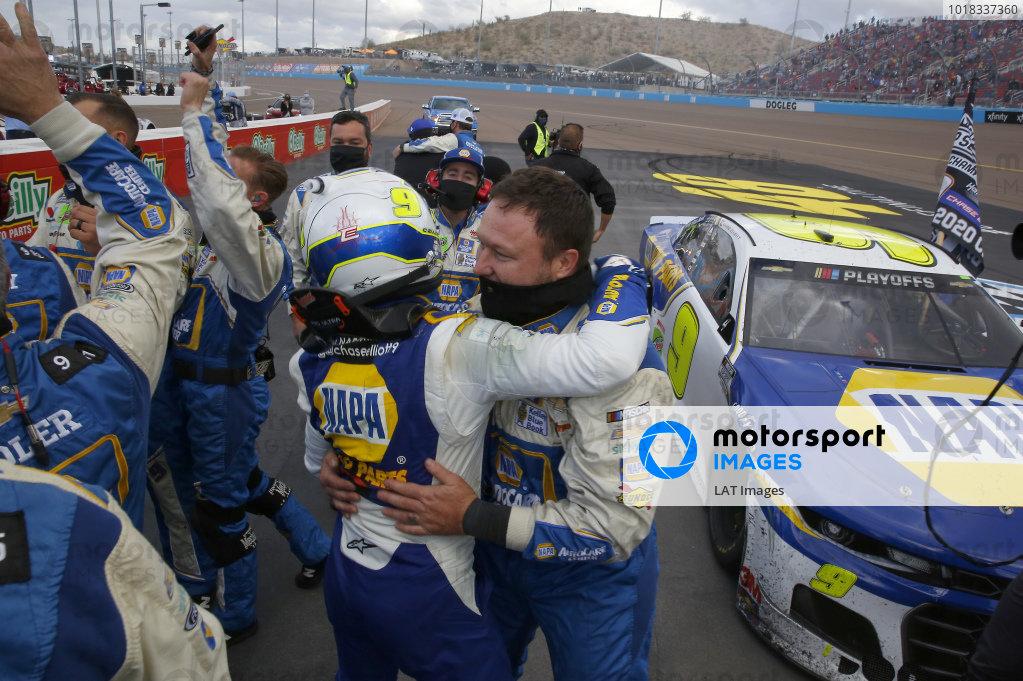 #9: Chase Elliott, Hendrick Motorsports, Chevrolet Camaro NAPA Auto Parts, celebrates after winning the 2020 Nascar Cup Series Championship