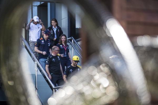 Daniel Ricciardo, Renault F1 Team, Max Verstappen, Red Bull Racing, and Lewis Hamilton, Mercedes AMG F1