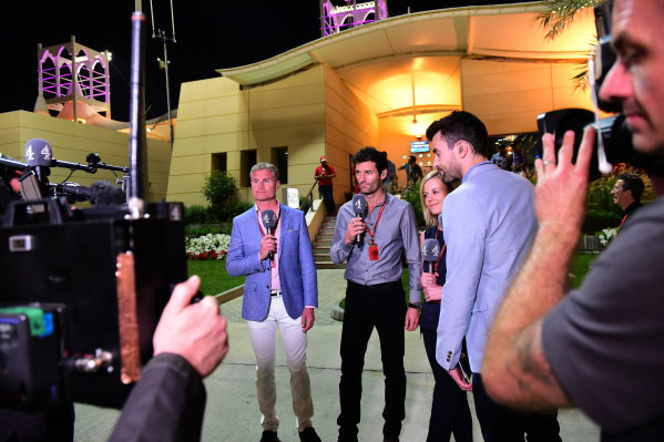 David Coulthard (GBR) Channel Four TV Commentator and Mark Webber (AUS) and Susie Wolff (GBR) and Steve Jones (GBR) Channel 4 at Formula One World Championship, Rd2, Bahrain Grand Prix Race, Bahrain International Circuit, Sakhir, Bahrain, Sunday 3 April 2016.