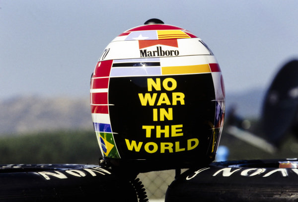 Gerhard Berger's special helmet design for this grand prix.