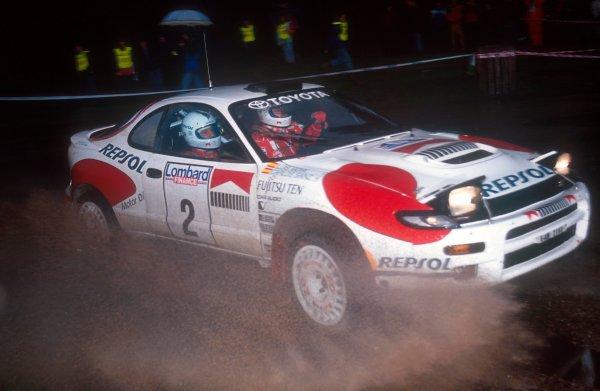 1992 FIA World Rally Championship.RAC Rally, United Kingdom.22-25 November 1992.Carlos Sainz/Luis Moya (Toyota Celica Turbo 4WD ST185) 1st position.World Copyright - LAT Photographic