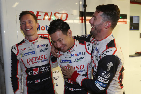 #7 Toyota Gazoo Racing Toyota TS050: Mike Conway, Jose Maria Lopez, Kamui Kobayashi celebrate pole position for the Le Mans 24 Hours