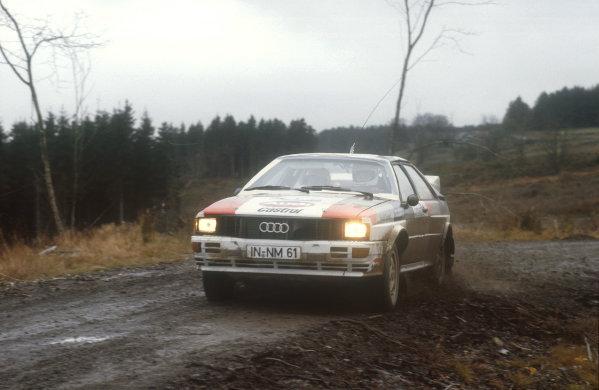 1981 World Rally Championship.Lombard RAC Rally, United Kingdom.22-25 November 1981.Hannu Mikkola/Arne Hertz (Audi Quattro) 1st position.Ref-81 RAC 02.World Copyright - LAT Photographic