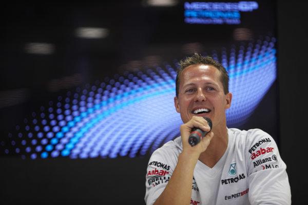 Circuit de Catalunya, Barcelona, Spain 19th May 2011 Michael Schumacher, Mercedes GP W02. Portrait. Media.  World Copyright: Steve Etherington/LAT Photographic ref: Digital Image SNE23789