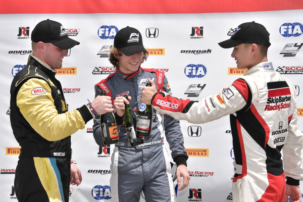 2017 F4 US Championship Rounds 1-2-3 Homestead-Miami Speedway, Homestead, FL USA Sunday 9 April 2017 Race #2 winner Raphael Forcier toast Ben Waddell & Timo Reger World Copyright: Dan R. Boyd/LAT Images