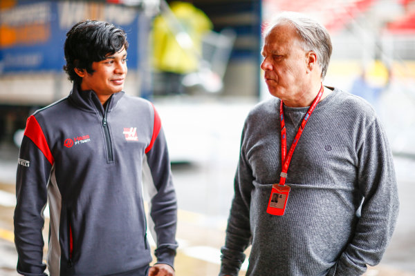 Circuit de Catalunya, Barcelona, Spain. Thursday 11 May 2017. Arjun Maini, Development Driver, Haas F1 Team, with Gene Haas, Owner and Founder, Haas F1. World Copyright: Andy Hone/LAT Images ref: Digital Image _ONY2961
