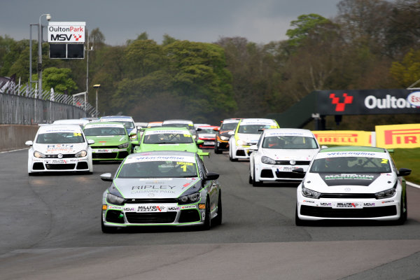 2017 Volkswagen Cup Oulton Park, 15th-17th April, 2017, Race Start - Phil House leads  World copyright. JEP/LAT Images