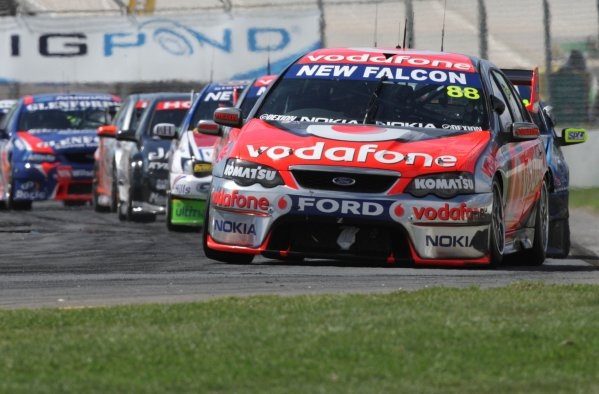 The Triple Eight Racing V8 Supercar of Jamie Whincup in action leading the Clipsal 500, Round 01 of the Australian V8 Supercar Championship Series at the Adelaide Street Circuit, Adelaide, South Australia, February 24, 2008.