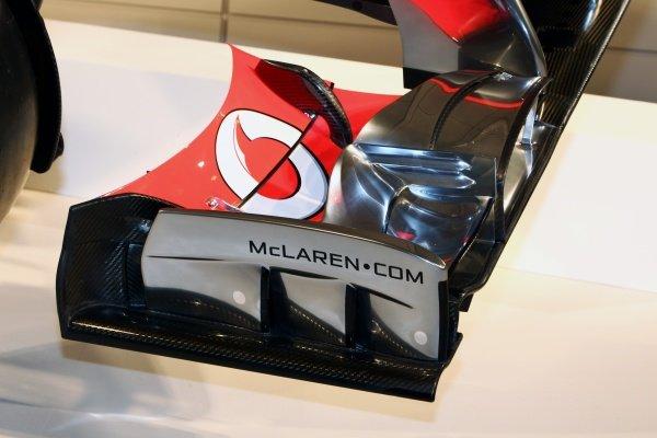 McLaren MP4-27 front wing detail. McLaren MP4-27 Launch, McLaren Technology Centre, Woking, England, 1 February 2012.