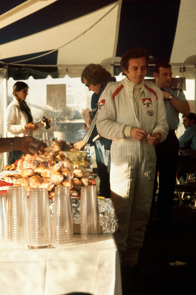 1973 Canadian Grand Prix.  Mosport Park, Ontario, Canada. 21st-23rd September 1973.  Jean-Pierre Beltoise enjoys the Marlboro BRM hospitality.  Ref: 73CAN64. World copyright: LAT Photographic