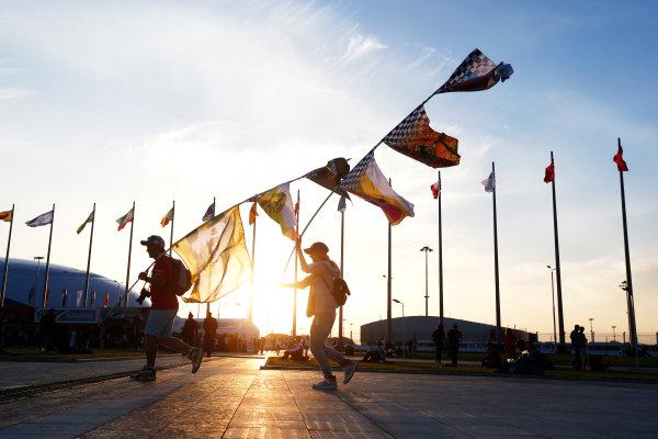 Sochi Autodrom, Sochi, Russia. Sunday 12 October 2014. The sun sets on the track. World Copyright: Charles Coates/LAT Photographic. ref: Digital Image _N7T7210