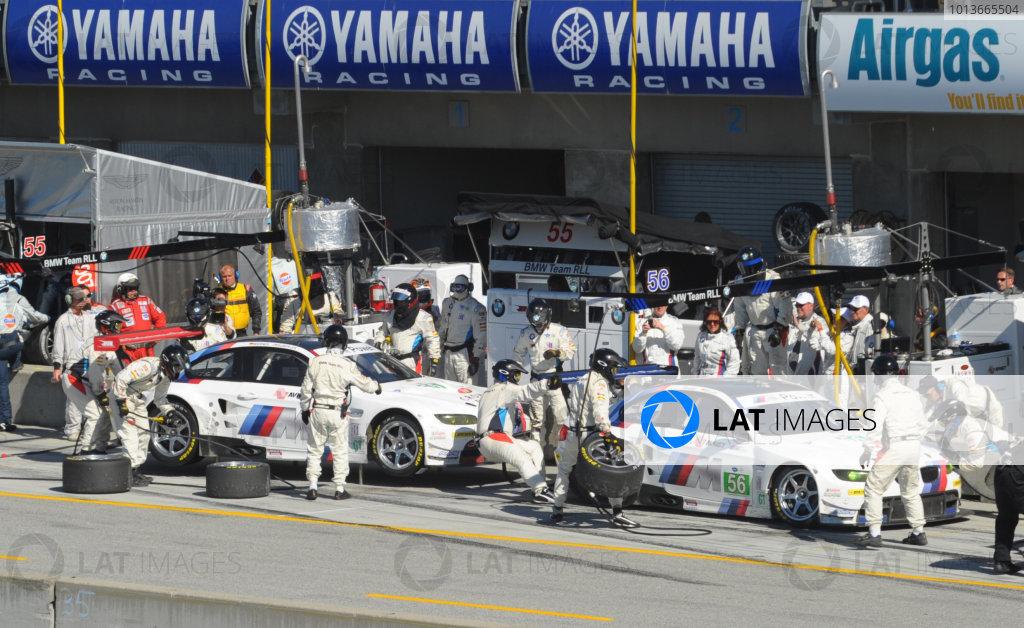 16-18 September, 2011, Monterey, California USA#56 & #55  BMW Team RLL BMW E92 M3 pitstop.(c)2011,  Dan R. Boyd  LAT Photo USA