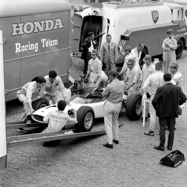 1964 German Grand PrixNurburgring, Germany. 31st July - 02nd AugustHonda take part in their first Grand Prix.World Copyright - LAT Photographic ref: B&W Negative Image no. 25895