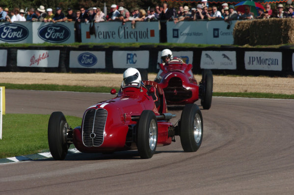2004 Goodwood Revival MeetingGoodwood, England. 3rd - 5th September 2004.Goodwood Trophy for GP, F2 and F Libre 1948 - 1954.Mark Gillies (Maserati 4CL) leads Gary Pearson (Alfa Romeo 12C-37), action.World Copyright: Jeff Bloxham/LAT Photographicref: Digital Image Only