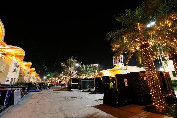 Bahrain International Circuit, Sakhir, Bahrain. Sunday 19 April 2015. The paddock is packed away after the race. World Copyright: Alastair Staley/LAT Photographic. ref: Digital Image _79P9214