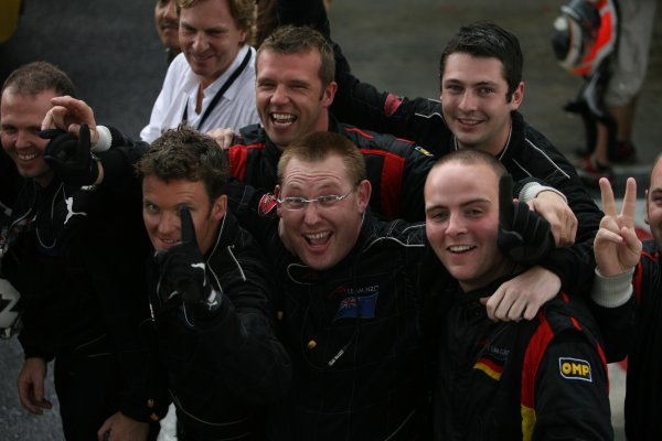 10.12 2006 Citeureup, Bogor, Indonesia, Jonny Reid, Driver of A1Team New Zealand win is celebrated by his teams mechanics - A1GP World Cup of Motorsport 2006/07, Round 5, Sentul, Sunday Race 2 - Copyright A1GP - Free for editorial usage