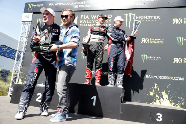2014 FIA World Rallycross Championship Round 1 Montalegre, Portugal 3rd & 4th May 2014 Andreas Bakkerud. Ford. Podium    Worldwide Copyright: McKlein/LAT
