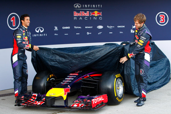 2014 F1 Pre Season Test 1 - Preview Circuito de Jerez, Jerez, Spain. Tuesday 28 January 2014. Sebastian Vettel, Red Bull Racing. and Daniel Ricciardo, Red Bull Racing at the launch of the Red Bull RB10. World Copyright: Alastair Staley/LAT Photographic. ref: Digital Image _A8C7595