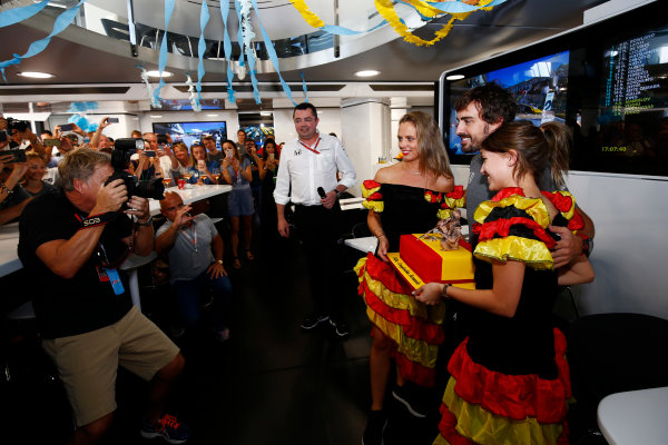 Hungaroring, Budapest, Hungary.  Saturday 29 July 2017. Fernando Alonso, McLaren, celebrates his birthday. World Copyright: Andy Hone/LAT Images  ref: Digital Image _ONZ9872