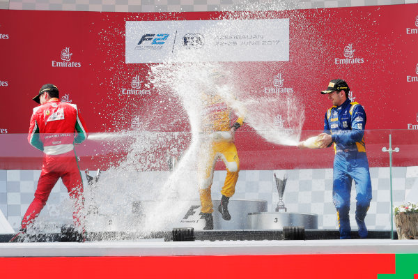 Baku City Circuit, Baku, Azerbaijan. Sunday 25 June 2017 Charles Leclerc (MCO, PREMA Racing) Norman Nato (FRA, Pertamina Arden) and Nicholas Latifi (CAN, DAMS)  Photo: Mauger/FIA Formula 2 ref: Digital Image _56I8649
