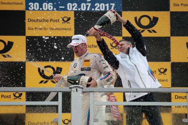 2017 DTM Round 4 Norisring, Nuremburg, Germany Sunday 2 July 2017. Podium:  Maxime Martin, BMW Team RBM, BMW M4 DTM, Bart Mampaey, Team principal BMW Team RBM World Copyright: Alexander Trienitz/LAT Images ref: Digital Image 2017-DTM-R3-NOR-AT1-3868
