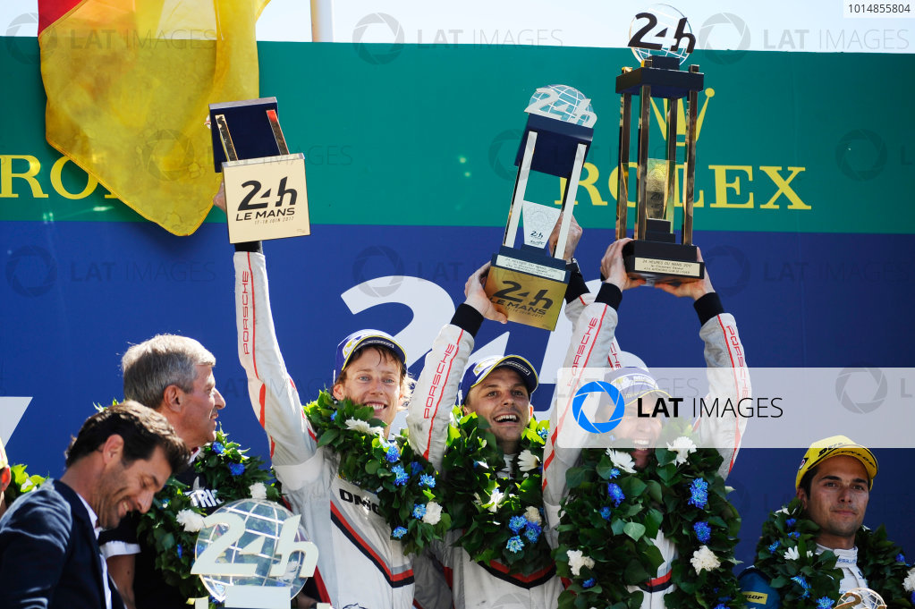 2017 Le Mans 24 Hours Circuit de la Sarthe, Le Mans, France. Sunday 18 June 2017 Podium: overall winners #2 Porsche Team Porsche 919 Hybrid: Timo Bernhard, Earl Bamber, Brendon Hartley World Copyright: Rainier Ehrhardt/LAT Images ref: Digital Image 24LM-re-16570