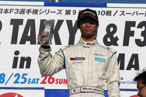 Round 9 & 10, Okayama, Japan. 25th August 2012.Rd 9 - Winner  Ryo Hirakawa ( #4 RSS ), 1st position, podium.World Copyright: Yasushi Ishihara/LAT Photographicref: Digital Image 2012JF3_Rd9&10_013