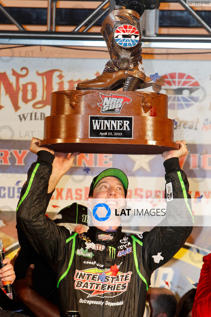 11-13 April, 2013, Fort Worth, Texas USA Kyle Busch, Interstate Batteries Toyota Camry in victory lane ©2013, Matthew T. Thacker LAT South USA .