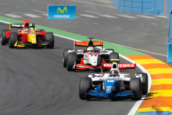 Valencia Spain. 27th June. Sunday Race. Davide Valsecchi (ITA, iSport International) leads Luiz Razia (BRA, Rapax) and Dani Clos (ESP, Racing Engineering). Action. Portrait. Photo: Andrew Ferraro/GP2 Media Service. Ref: _O9T4576 jpg