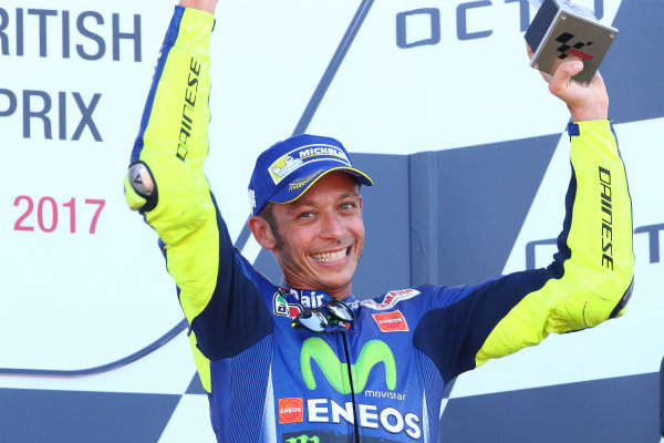 2017 MotoGP Championship - Round 12 Silverstone, Northamptonshire, UK. Sunday 27 August 2017 Podium: third place Valentino Rossi, Yamaha Factory Racing World Copyright: Gold and Goose / LAT Images ref: Digital Image 1059