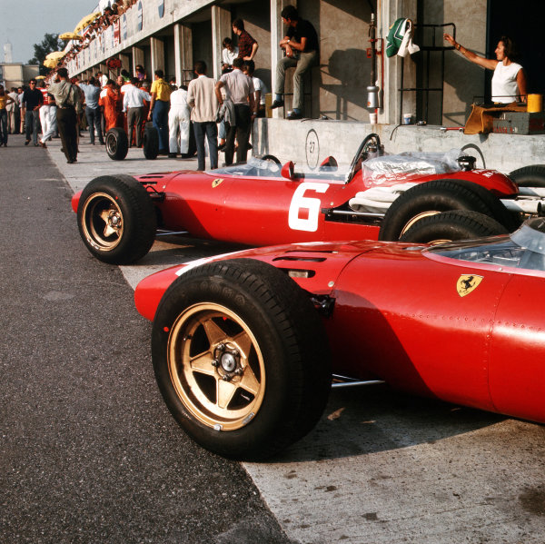 Monza, Italy. 2-4 September 1966.The works Ferrari 312 in the pits.Ref-3/2351.World Copyright - LAT Photographic