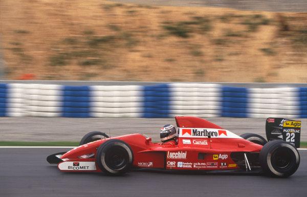 Barcelona, Spain. 27th - 29th September 1991.J J. Lehto (Dallara BMS191-Judd), 8th position, action. World Copyright: LAT Photographic.Ref:  91ESP