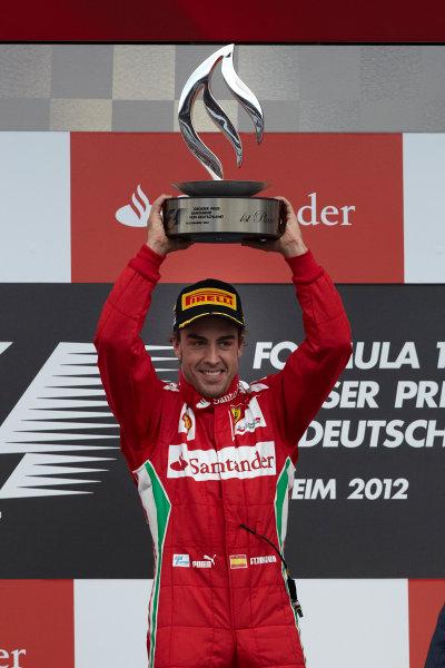 Hockenheimring, Hockenheim, Germany 22nd July 2012 Fernando Alonso, Ferrari, 1st position on the podium. World Copyright: Steve Etherington/LAT Photographic ref: Digital Image HC5C5887 copy