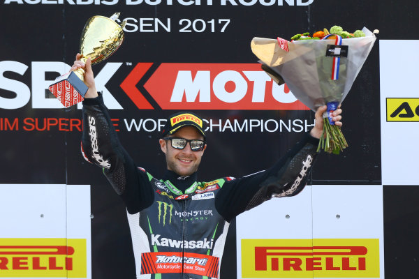 2017 Superbike World Championship - Round 4 Assen, Netherlands. Sunday 30 April 2017 Podium: winner Jonathan Rea, Kawasaki Racing World Copyright: Gold and Goose Photography/LAT Images ref: Digital Image WSBKpostrace-1333