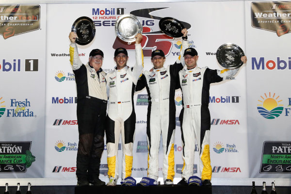 2017 IMSA WeatherTech SportsCar Championship Mobil 1 Twelve Hours of Sebring Sebring International Raceway, Sebring, FL USA Saturday 18 March 2017 3, Chevrolet, Corvette C7.R, GTLM, Antonio Garcia, Jan Magnussen, Mike Rockenfeller, podium World Copyright: Michael L. Levitt/LAT Images ref: Digital Image levitt_seb_0317-31763