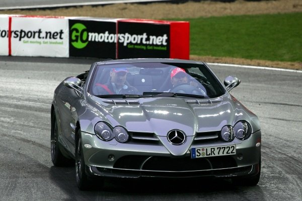 Gavin Jones (GBR) is taken for a ride with Lewis Hamilton (GBR) Mclaren Mercedes SLR.