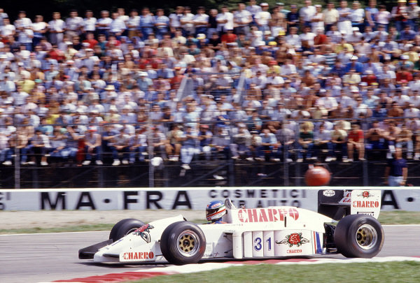 1986 Italian Grand Prix. Monza, Italy. 5-7 September 1986. Ivan Capelli (AGS JH21C Motori Moderni). Ref-86 ITA 43. World Copyright - LAT Photographic
